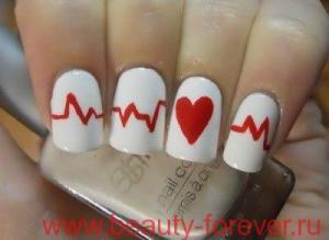 Маникюр с сердечками для Святого Валентина.