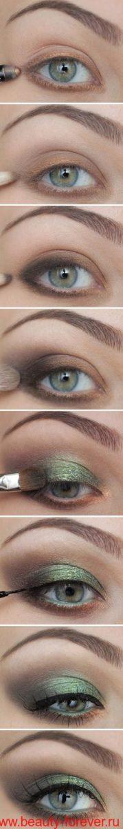 Изумрудно-зеленый макияж.