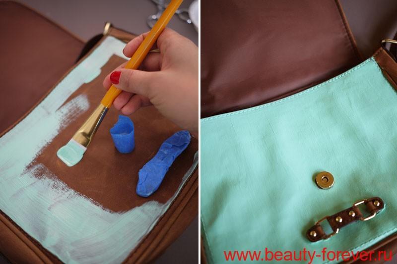 Цветочные принты на сумке своими руками.