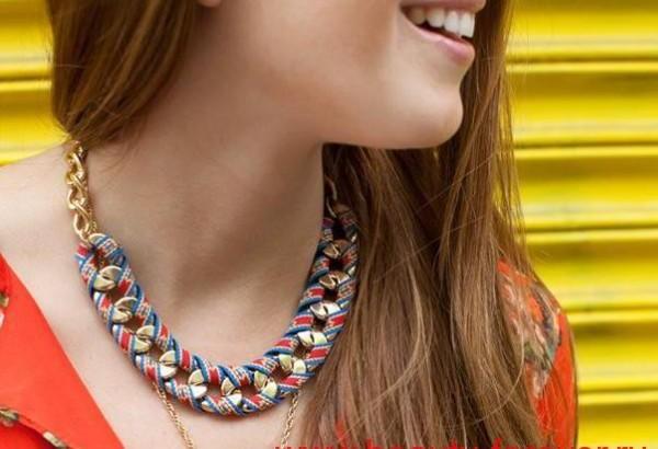 Сделай сам: ожерелье из цепей и ленты.