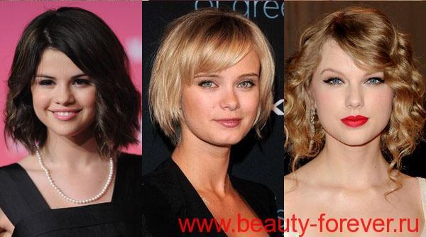 прически для круглого типа лица на средние волосы фото