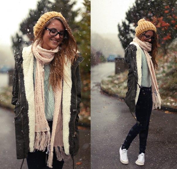 Модный шарф с паркой
