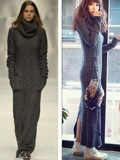 длинные вязаные платья фото