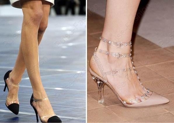 Обувь с прозрачными вставками