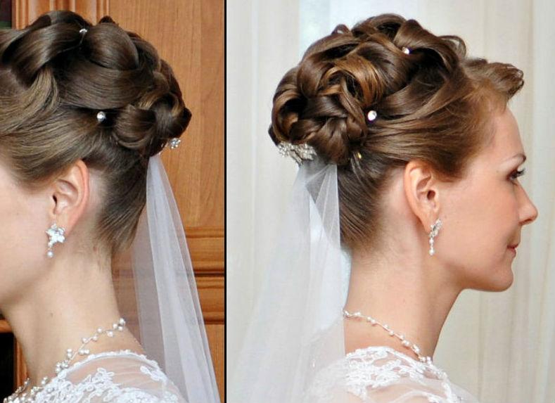 Свадебная причёска на средние волосы с челкой без фаты
