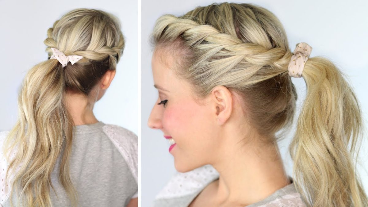Причёски с хвостом и плетением