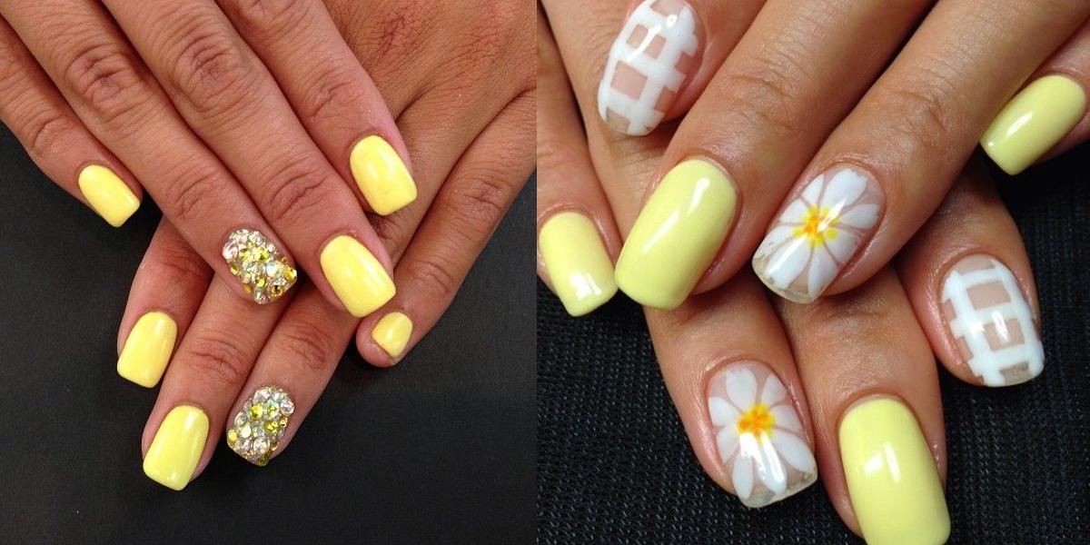 Дизайн ногтей розовый и желтый
