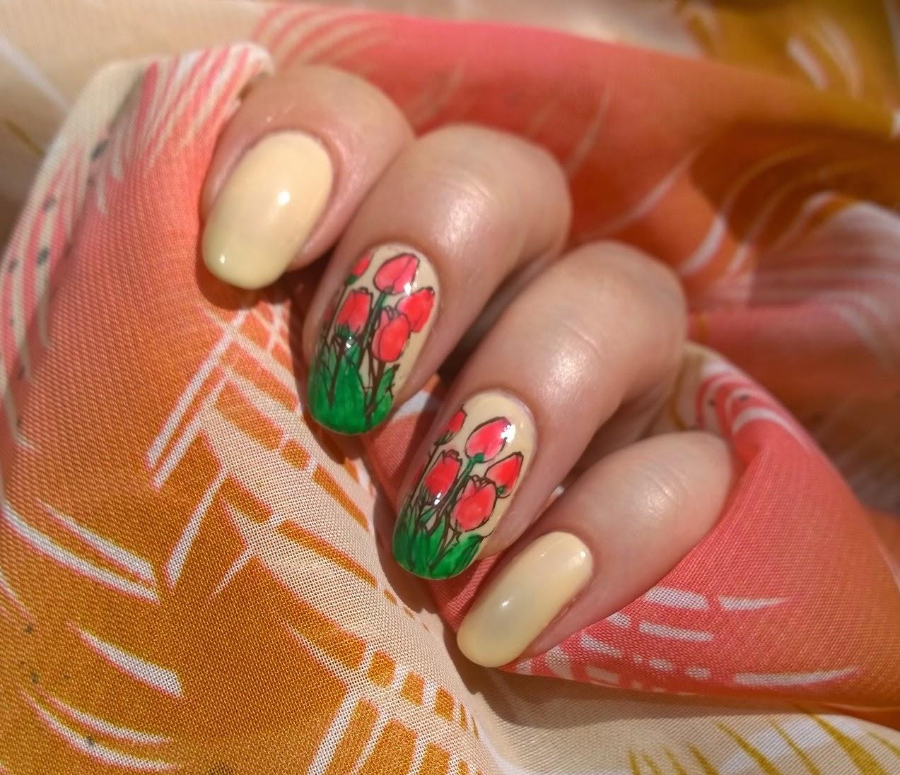 Рисунки на ногтях фото тюльпан