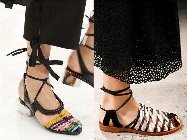 Обувь с плетением и ремешками
