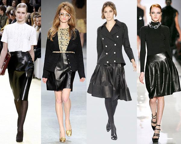Кожаные стильные юбки