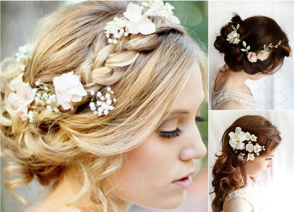 Свадебные прически с ободком из цветов 56