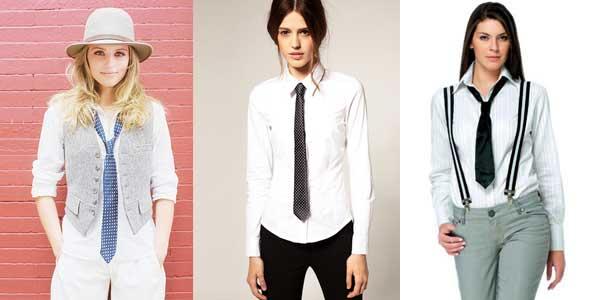 Как носить галстук женщине