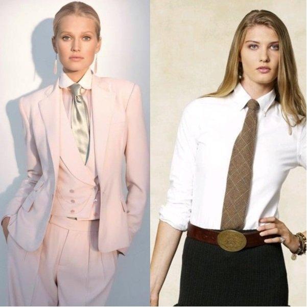 Женский костюм с галстуком