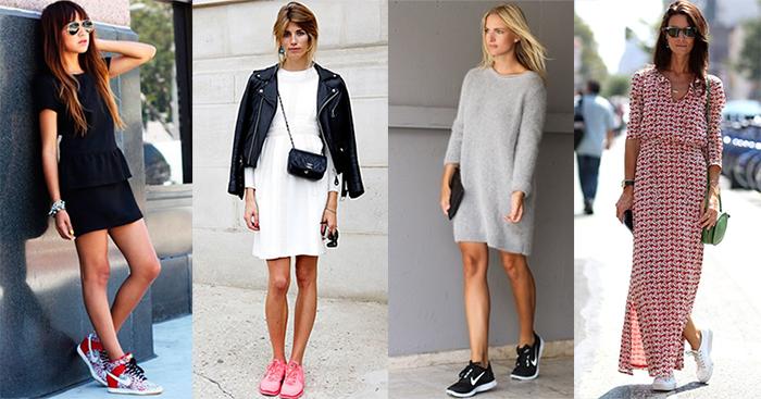 Сочетание кроссовки и платье