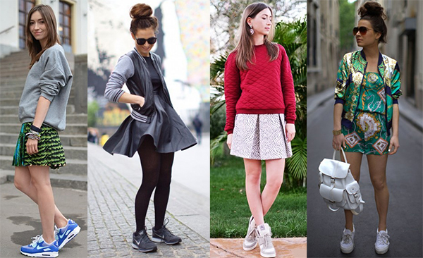 Кроссовки с мини юбками