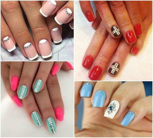 Рисунки на ногтях при помощи декора