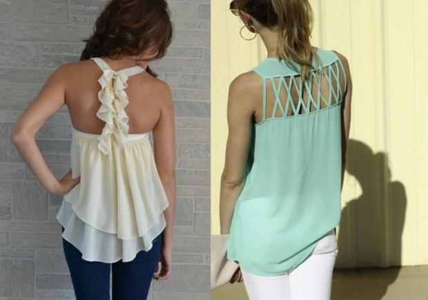 Блузки с оригинальной спинкой