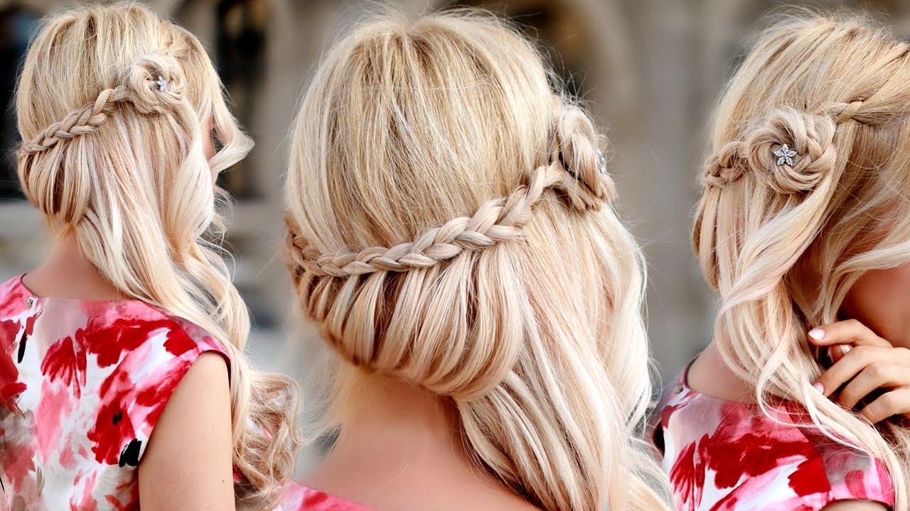 Прически праздничные на средние волосы с плетением