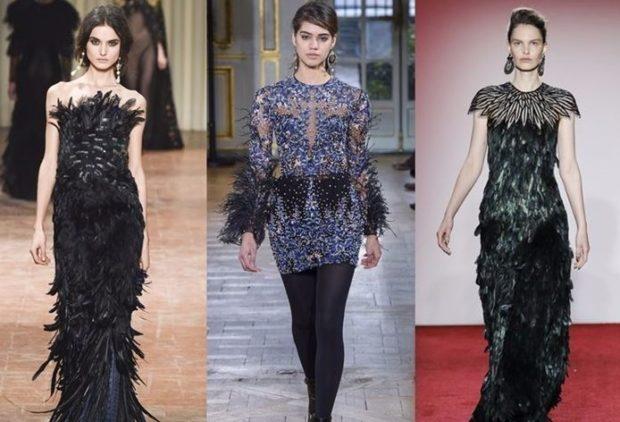 Платья с перьями