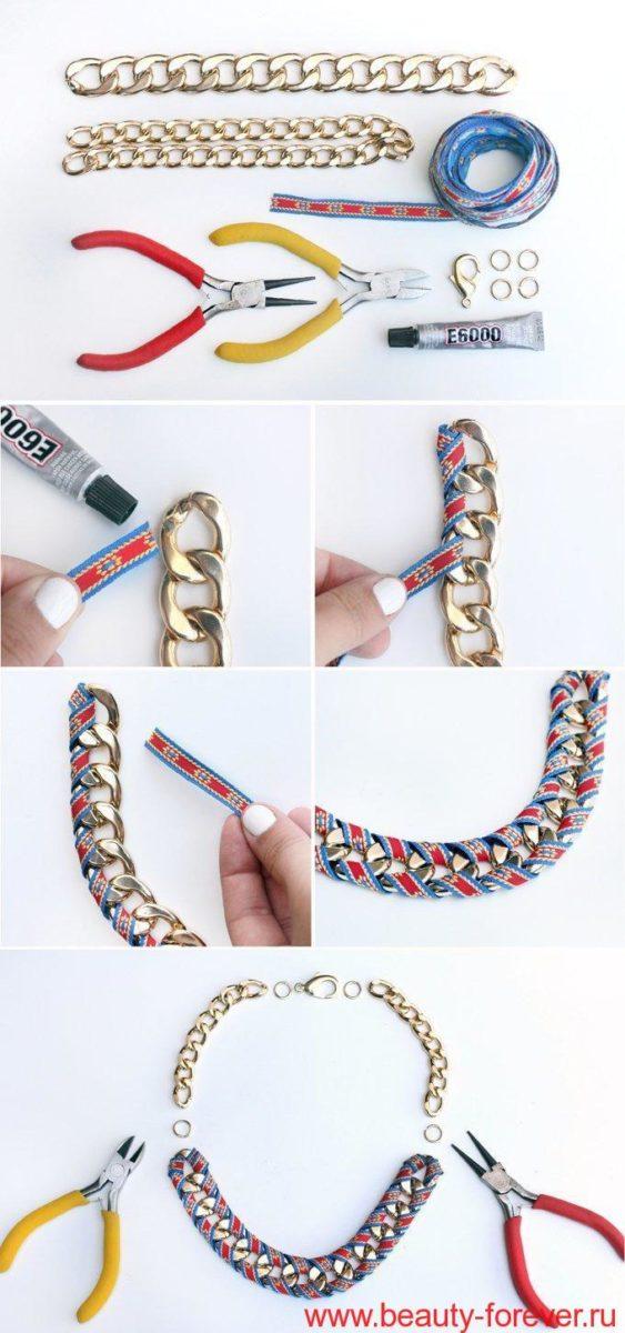 Ожерелье из цепей и ленты