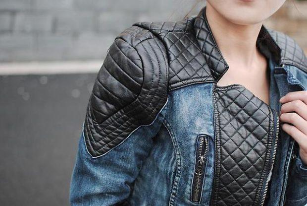 Разнофактурные кожаные куртки