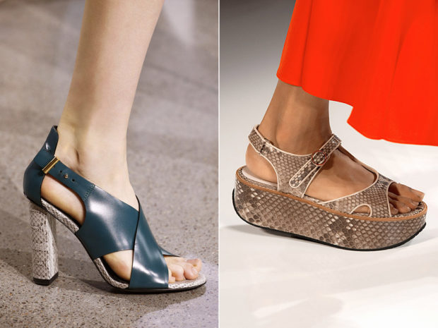 Обувь лета со змеиным принтом
