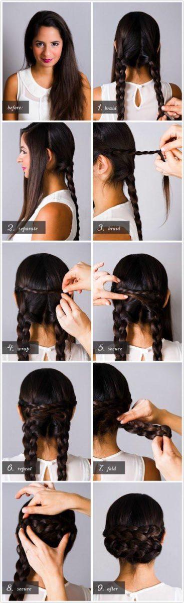 Плетение из четырех кос