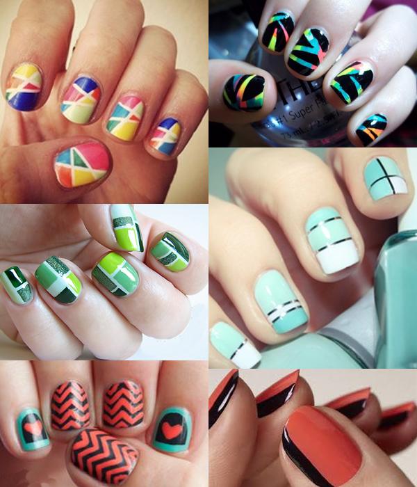 Рисунки на ногтях при помощи скотча