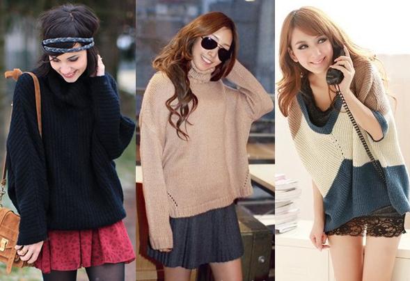 С чем комбинировать объемный свитер